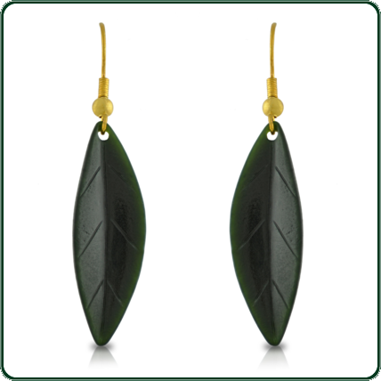 The natural markings in these delicate leaf earrings offer a unique and realistic edge to these fine pendants.