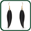 Shapely, dark green black Jade leaf pendant earrings mounted with gold and delicately carved to allow a subtle shift of colour from deep forest green to a translucent emerald hue