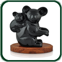 Australia's favourite bush creature, this koala and baby are carved from a single piece of black Jade and make ideal souvenirs or gifts.