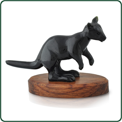 The travelling kangaroo carved from black Jade is an imaginative representation of our most famous native animal.