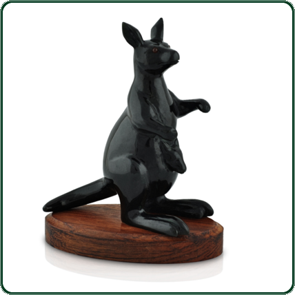 Carved from black Jade, the roo and joey will captivate you with their contrasting, garnet-coloured eyes.