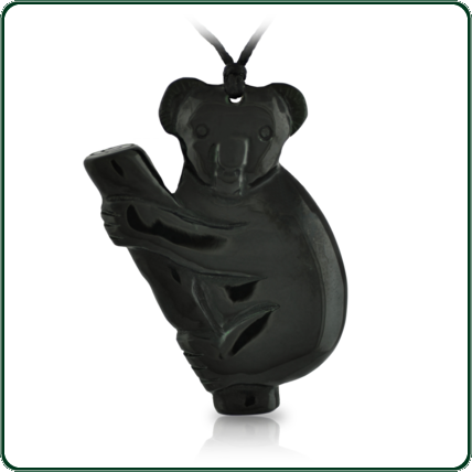 Carefully carved from black Jade, the cute little koala pendant is a tribute to one of Australia's favourite icons.