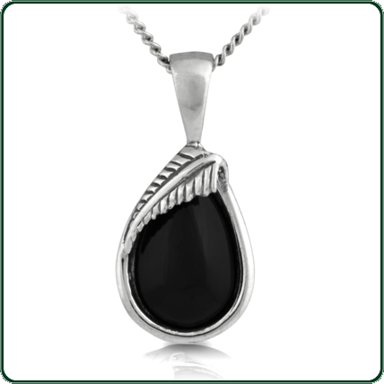 Tear drop black Jade pendant featuring the iconic silver fern design.