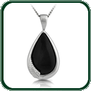 Choice of black Jade tear drop pendants enhanced by silver fern detail.