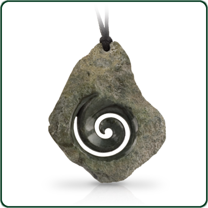 The delicately carved swirl sets a stunning contrast, emerging from the unique rough-hewn jade-stone, with no two being alike in shape, size or colour, and each piece characterised by its natural and individual texture.