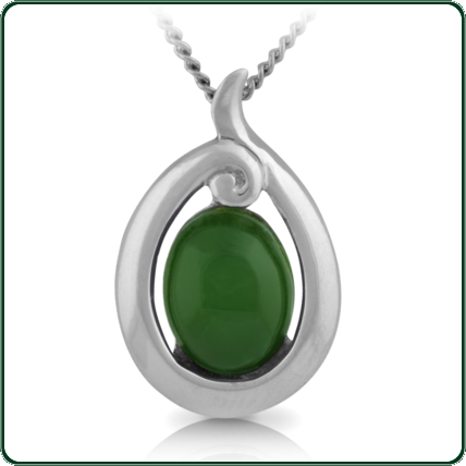 Oval-cut green Jade within a silver setting inspired by the traditions of the South Pacific.