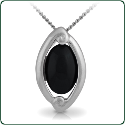 Pacific inspired silver pendant featuring an oval of dark Jade.