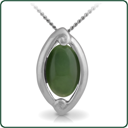 Pacific inspired silver pendant featuring an oval of green Jade.