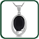 Two-piece silver pendant of silver encircling a choice of black Jade oval design.