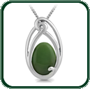 Flowing lines of South Pacific ornamentation secure an oval of green Nephrite Jade.