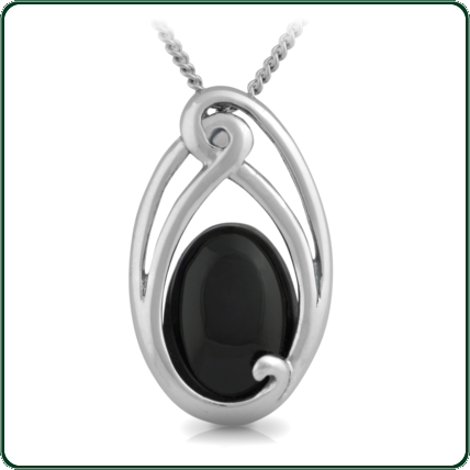 Flowing lines of South Pacific ornamentation secure an oval of black Nephrite Jade.