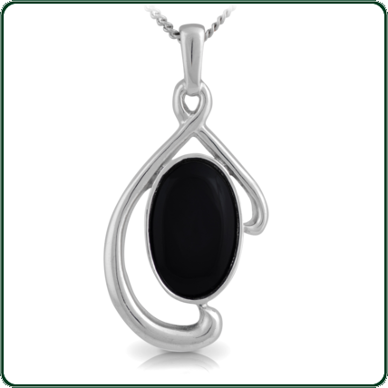 Simple oval of black Nephrite Jade poised within a flowing silver pendant.
