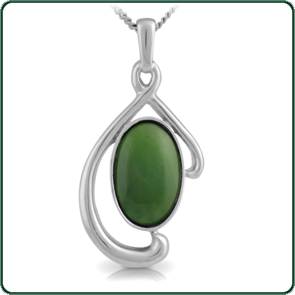 Simple oval of green Nephrite Jade poised within a flowing silver pendant.