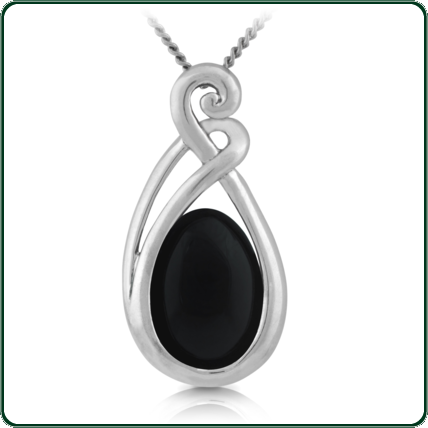 Silver mounting inspired by the designs of the South Pacific, frame an oval-cut of dark Jade.