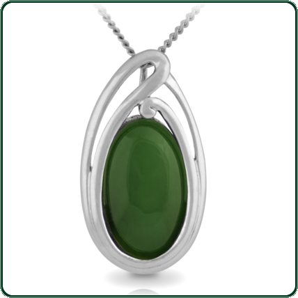 Organic lines surround an ellipse of green Jade to create a simple, elegant jewellery piece.