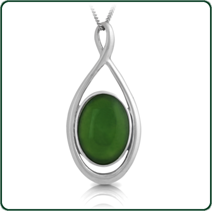 Loop of twisted silver captures a single oval-cut of green Nephrite Jade.