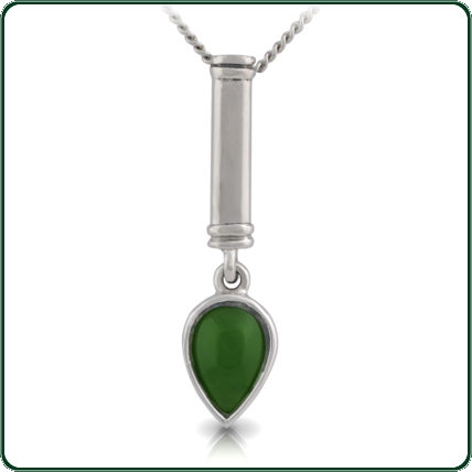 Two-piece pendant featuring and inverted teardrop in green Jade below a silver rod pendant.