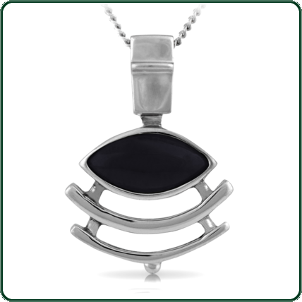 Eye-cut of black Jade mounted in a setting evoking ancient, sacred design.