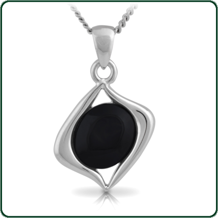 Oval of black Jade mounted in an asymmetrical silver pendant setting.