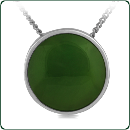 Green Jade roundel mounted in fine silver.