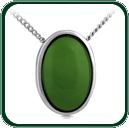 Choice of green Nephrite Jade pendant framed in silver.