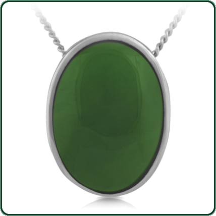 Large oval pendant in green Jade in a slender, silver frame.