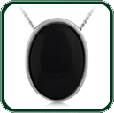 Large oval pendant in dark Jade in a slender, silver frame.