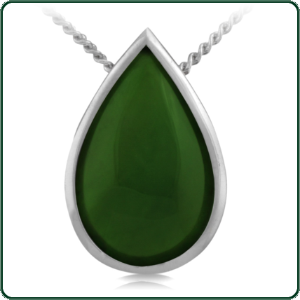 Substantial tear-drop pendant carved from choice of green Jade.